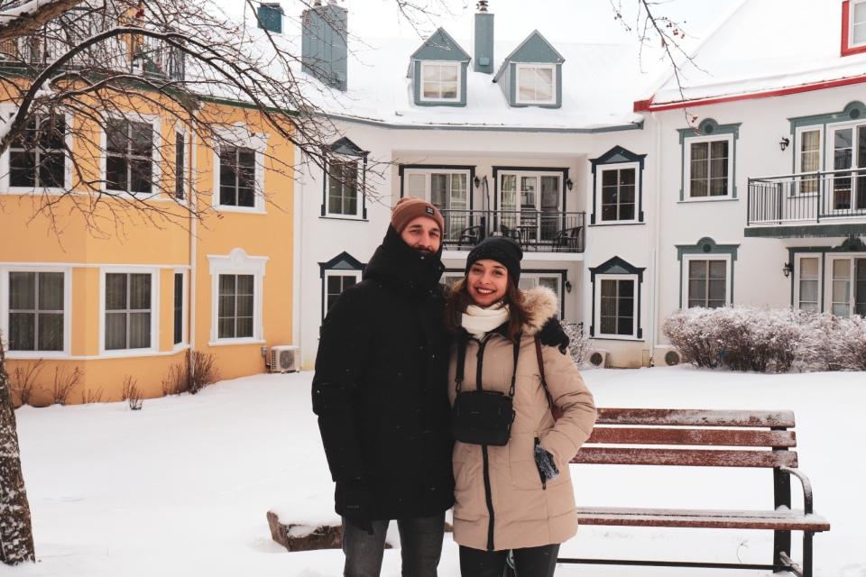 Stephane & moi à Mont-Tremblant village - L'Hiver à Montréal, Canada - Blog Voyage Ma Folie Vagabonde